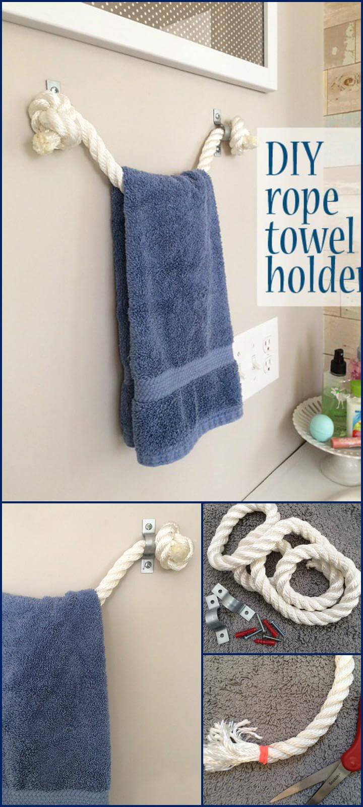 self-made rope towel holder