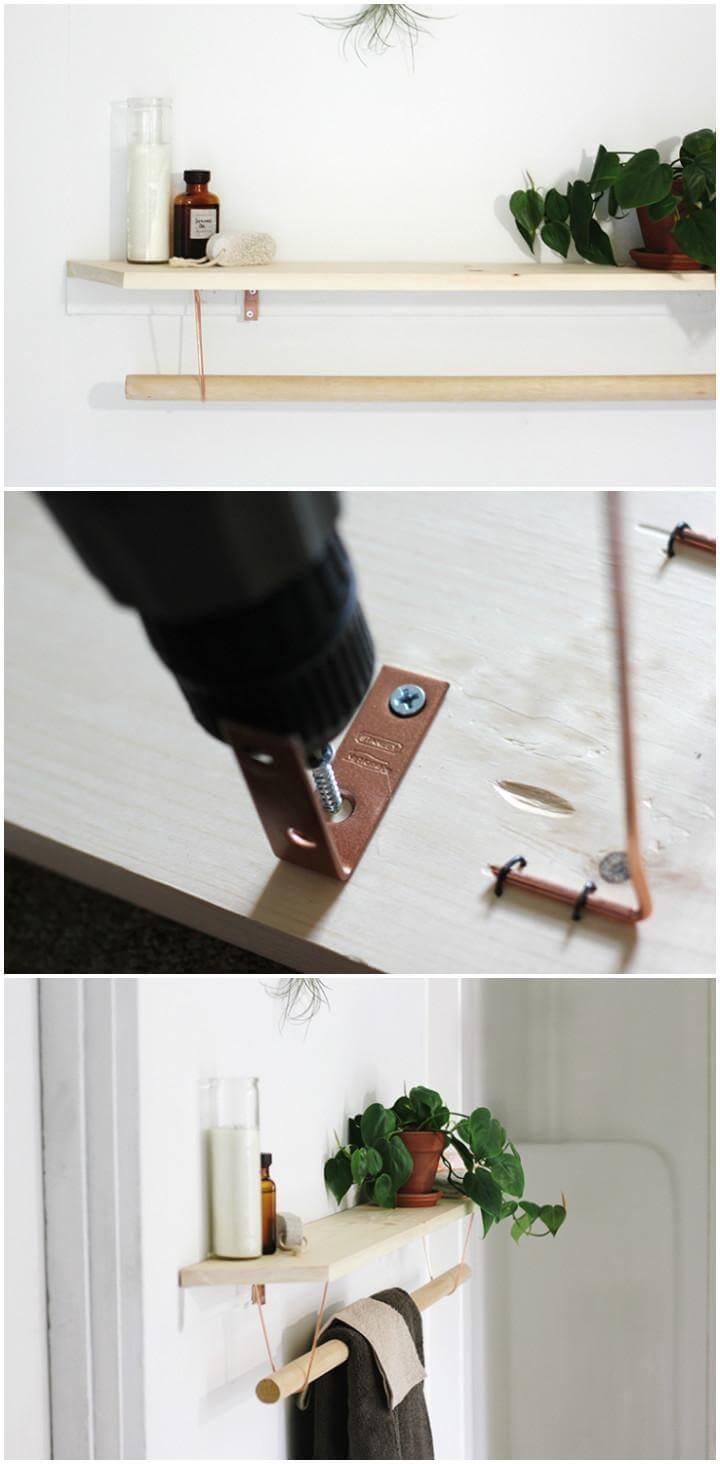 handmade easy towel rack with shelf