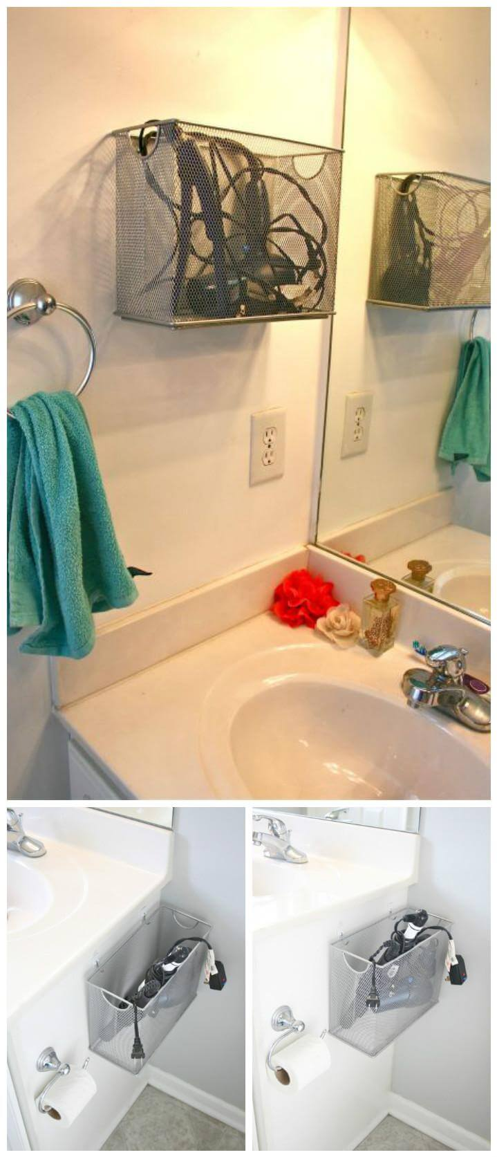 repurposed file box bathroom appliance storage