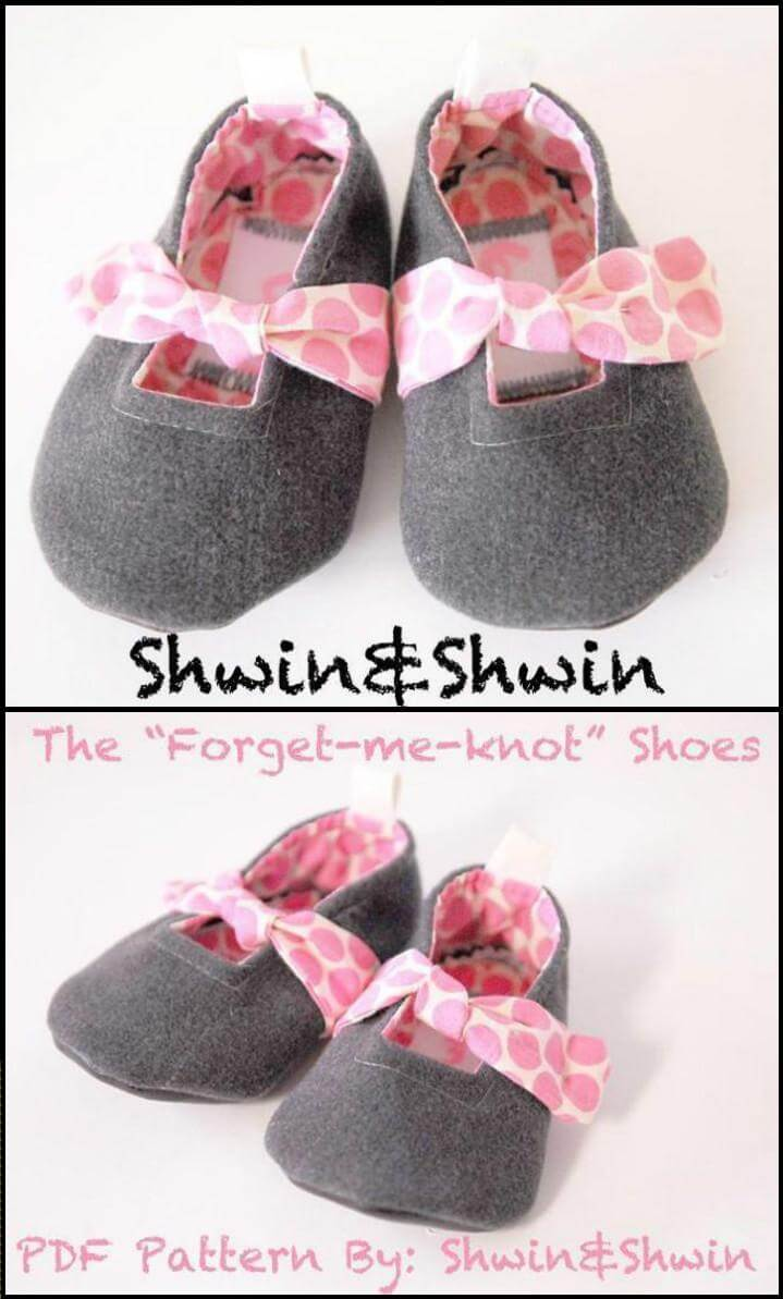 self-made forget me knot or bow baby shoes
