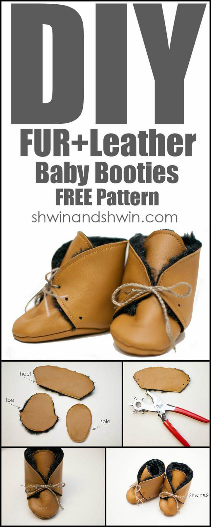 easy fur leather baby booties