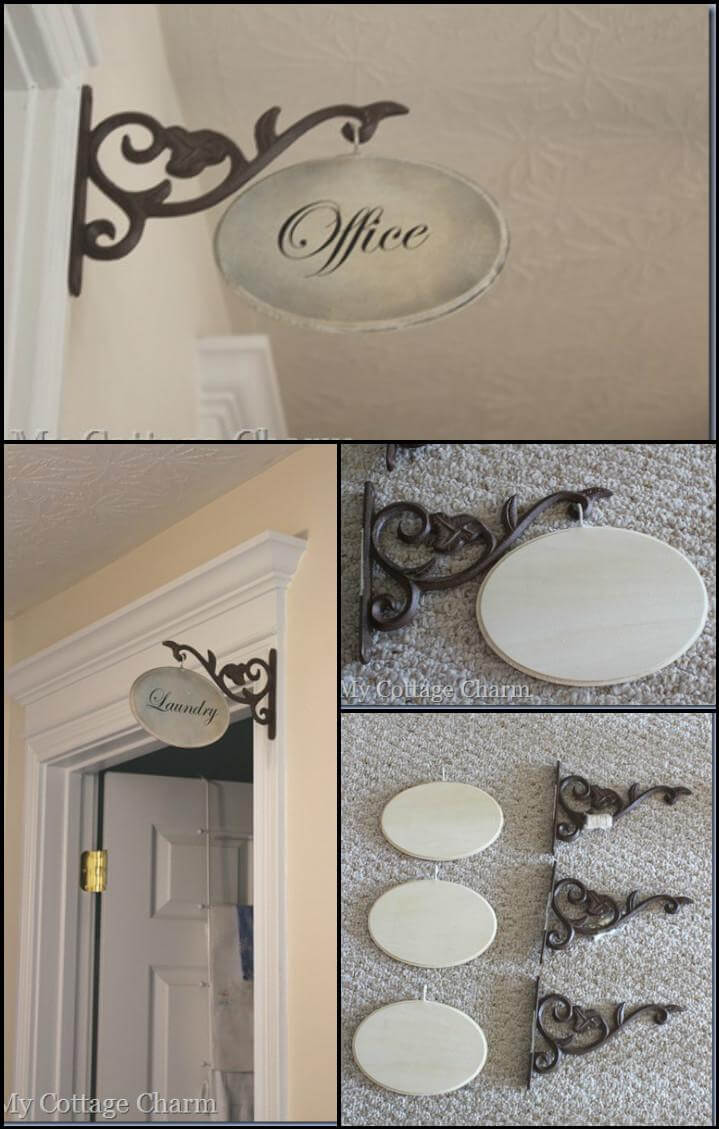 handcrafted hallway sign