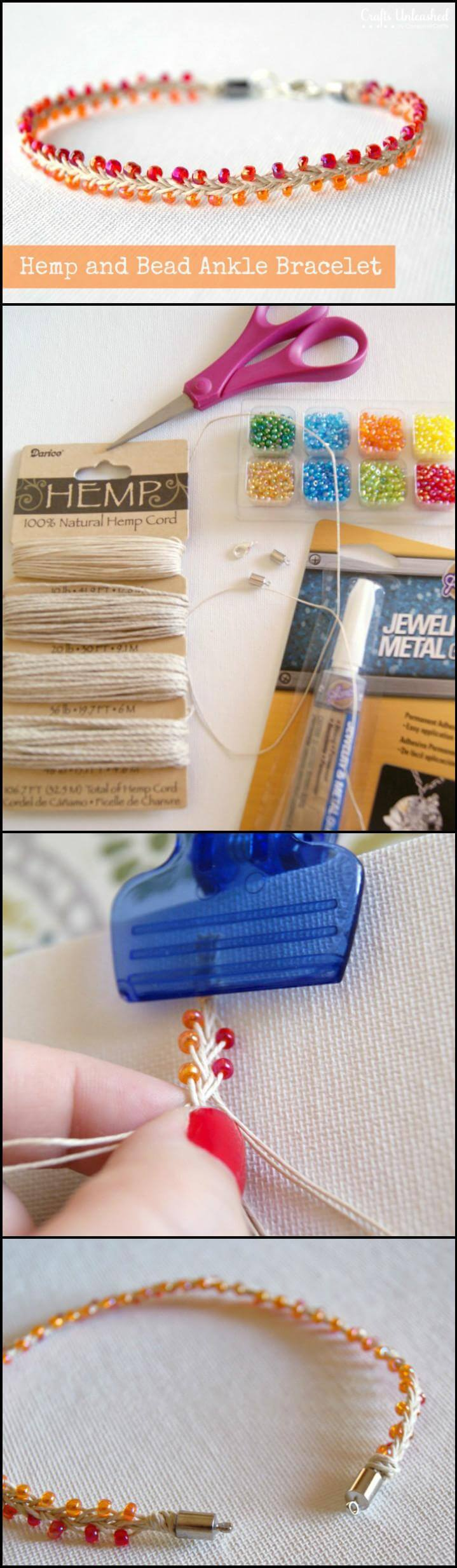 easy hemp and bead ankle bracelet