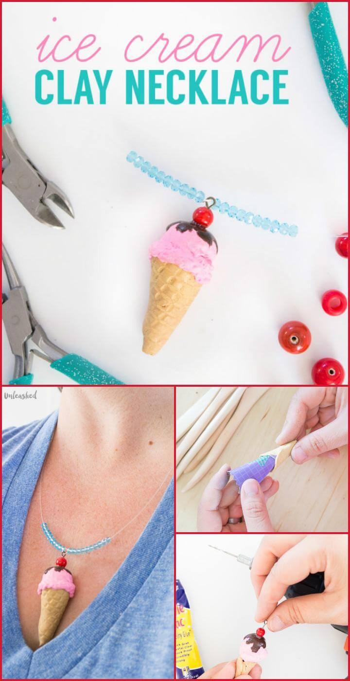 handmade ice cream clay necklace
