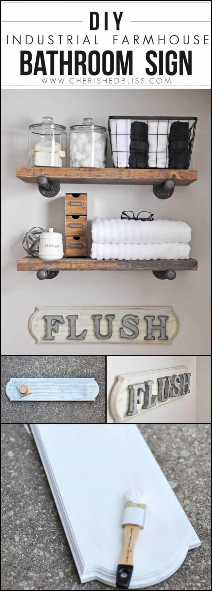 easy handmade industrial farmhouse bathroom sign