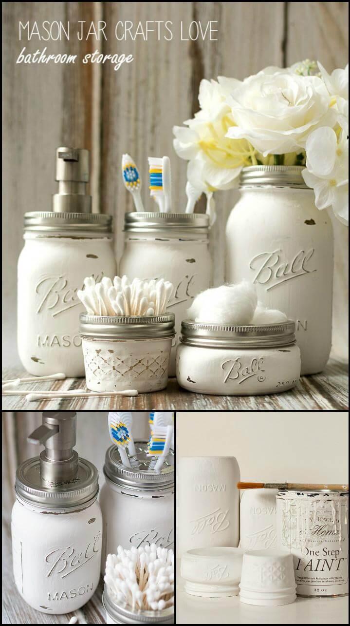repurposed Mason jar bathroom storage