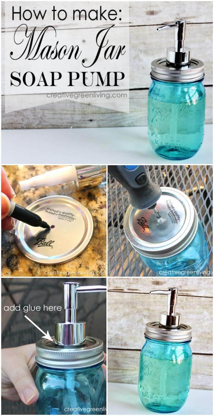 reclaimed mason jar soap pump