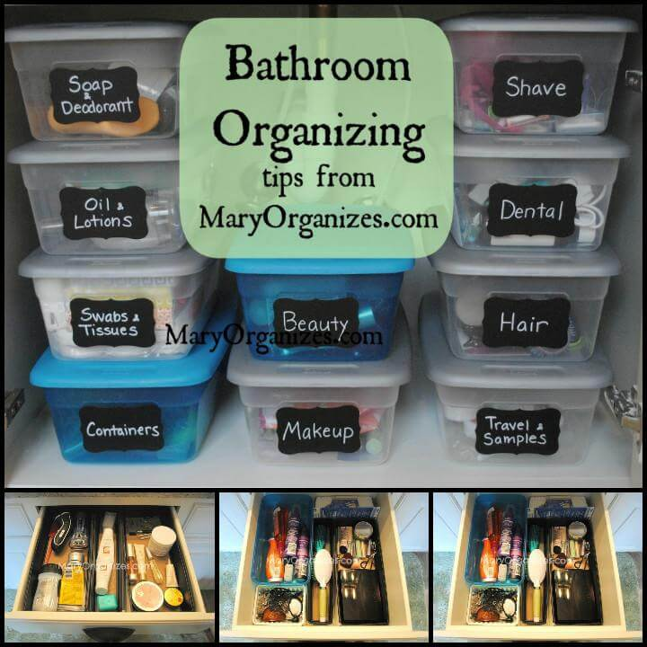 low-cost master bathroom organization