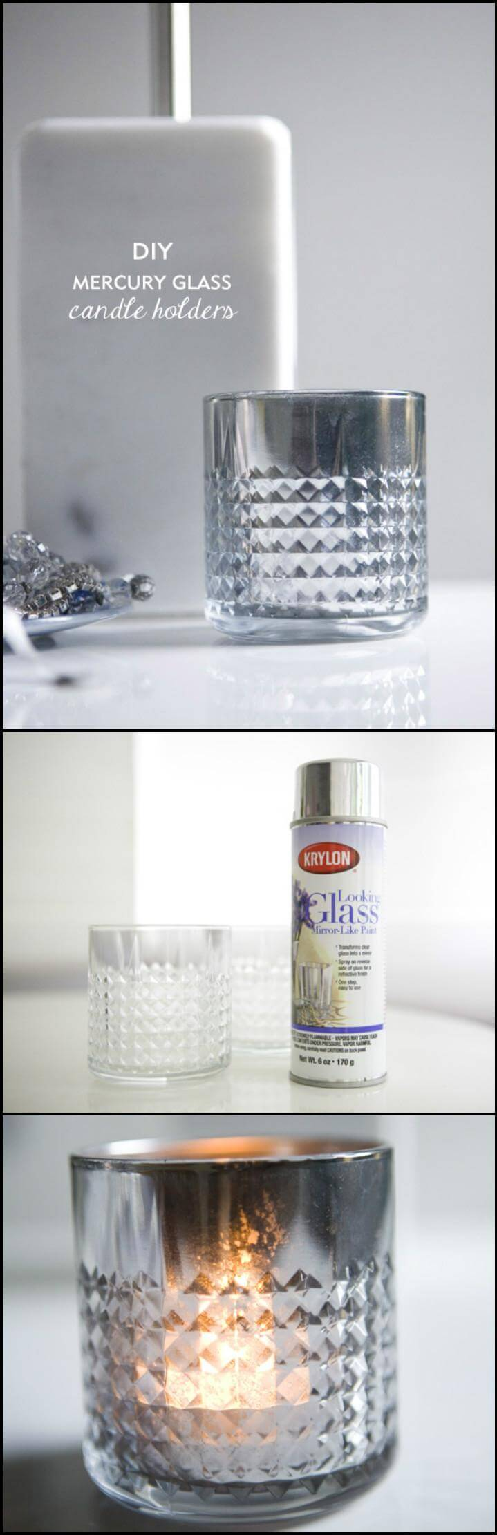 easy yet beautiful mercury glass candle votive