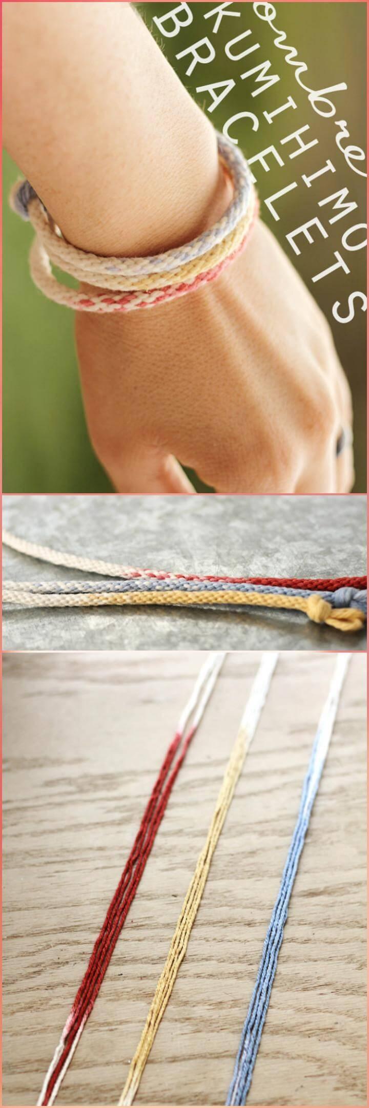 easy ombre yarn bracelets