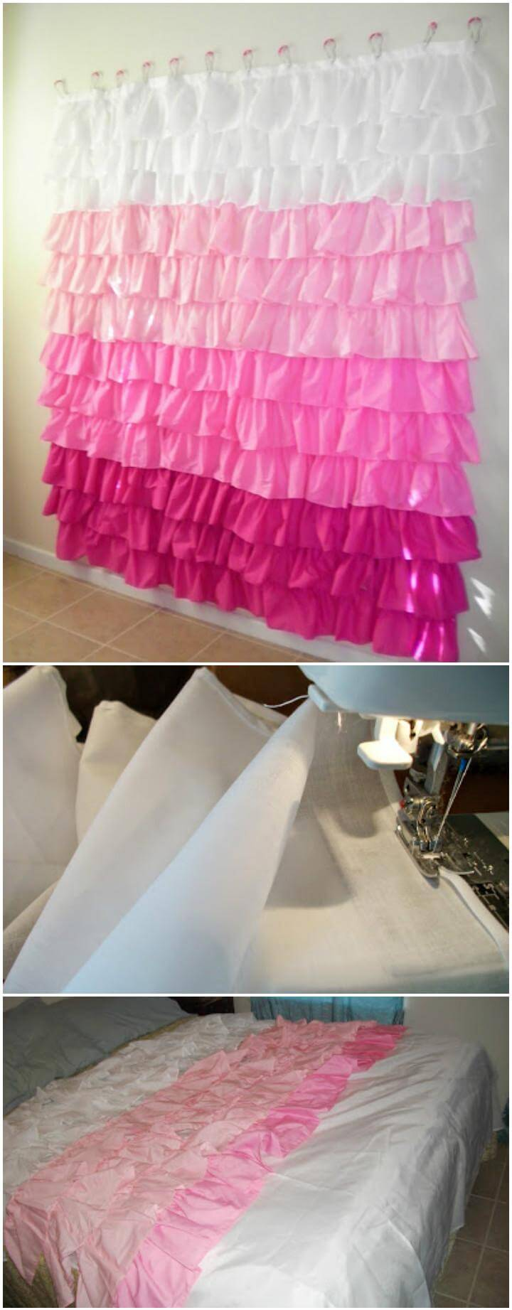 Cool DIY oodles of ruffles shower curtain