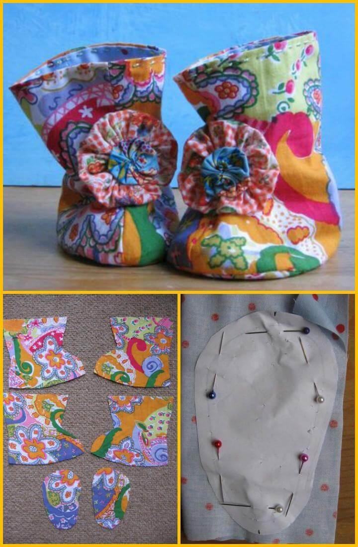 handmade paisley baby booties