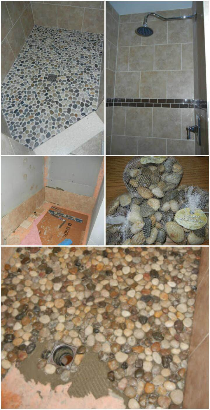 self-installed pebbled shower floor