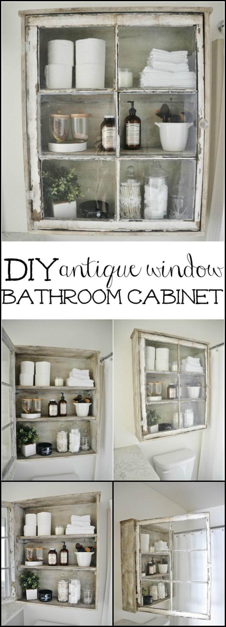 repurposed old window bathroom cabinet