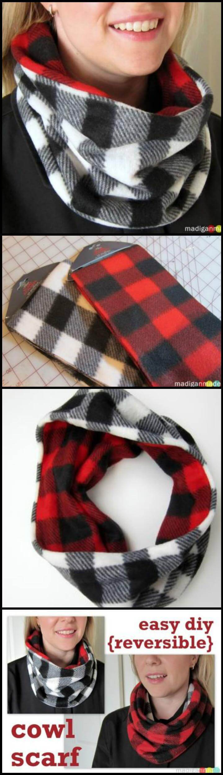self-made reversible cowl infinity scarf
