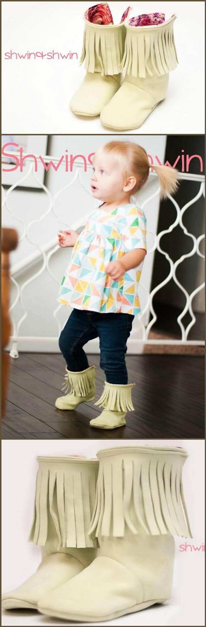 handmade fringe baby shoes