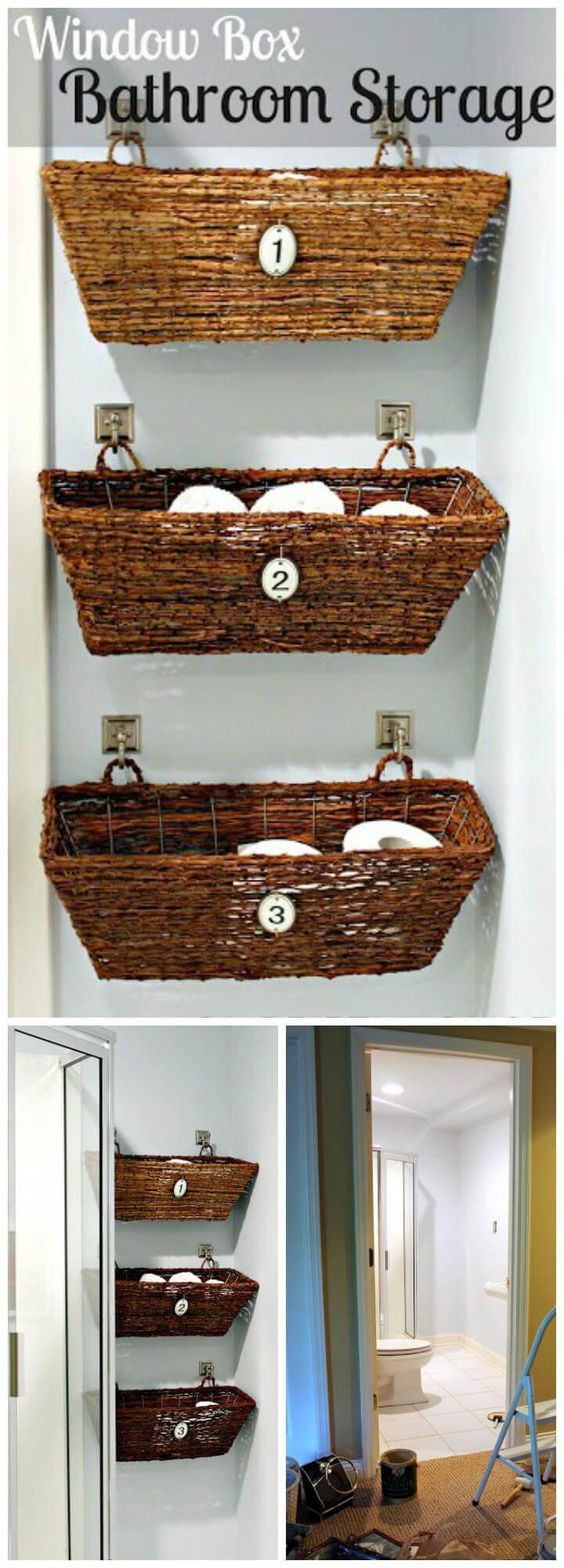 self-made and installed window box bathroom shelves