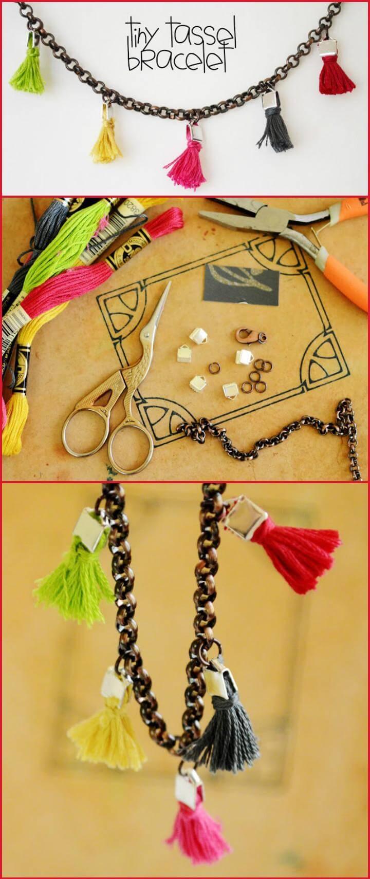 handmade tiny tassel bracelet