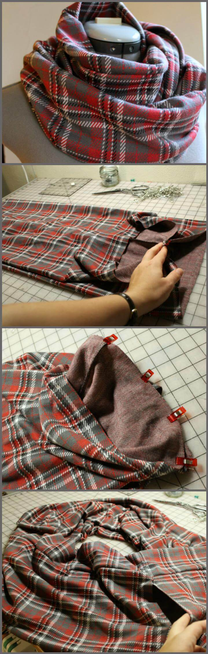 easy sew infinity scarf project and tutorial