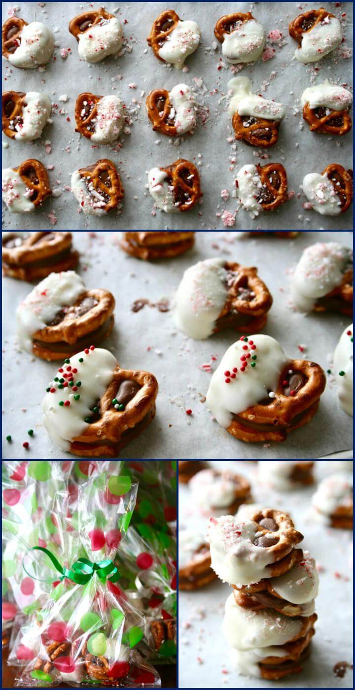 easy white chocolate dipped Rolo pretzel sandwiches