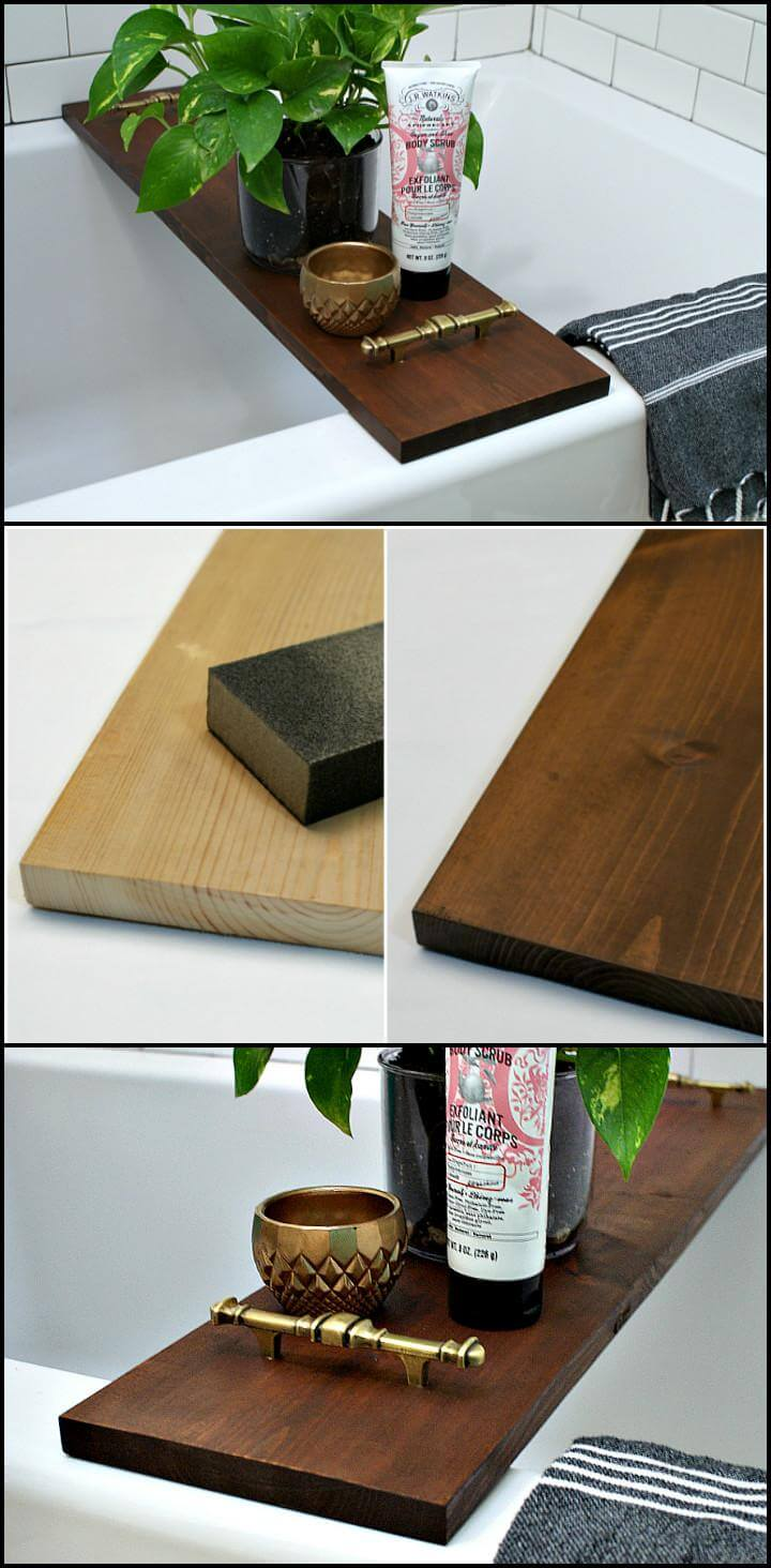 handmade wooden bathtub tray