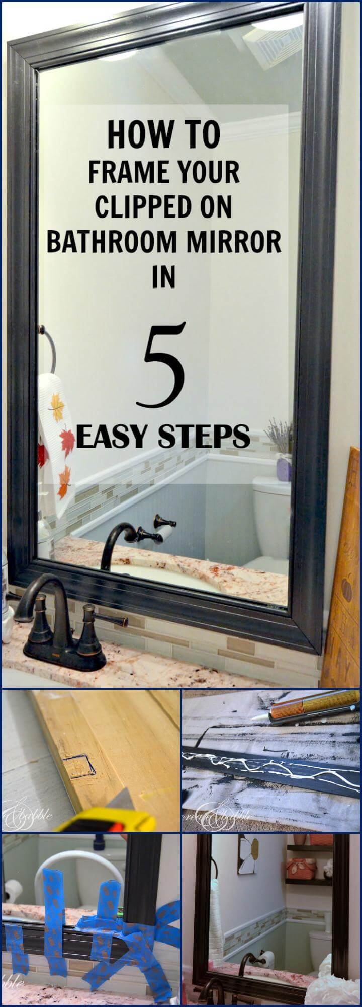 DIY bathroom mirror framing