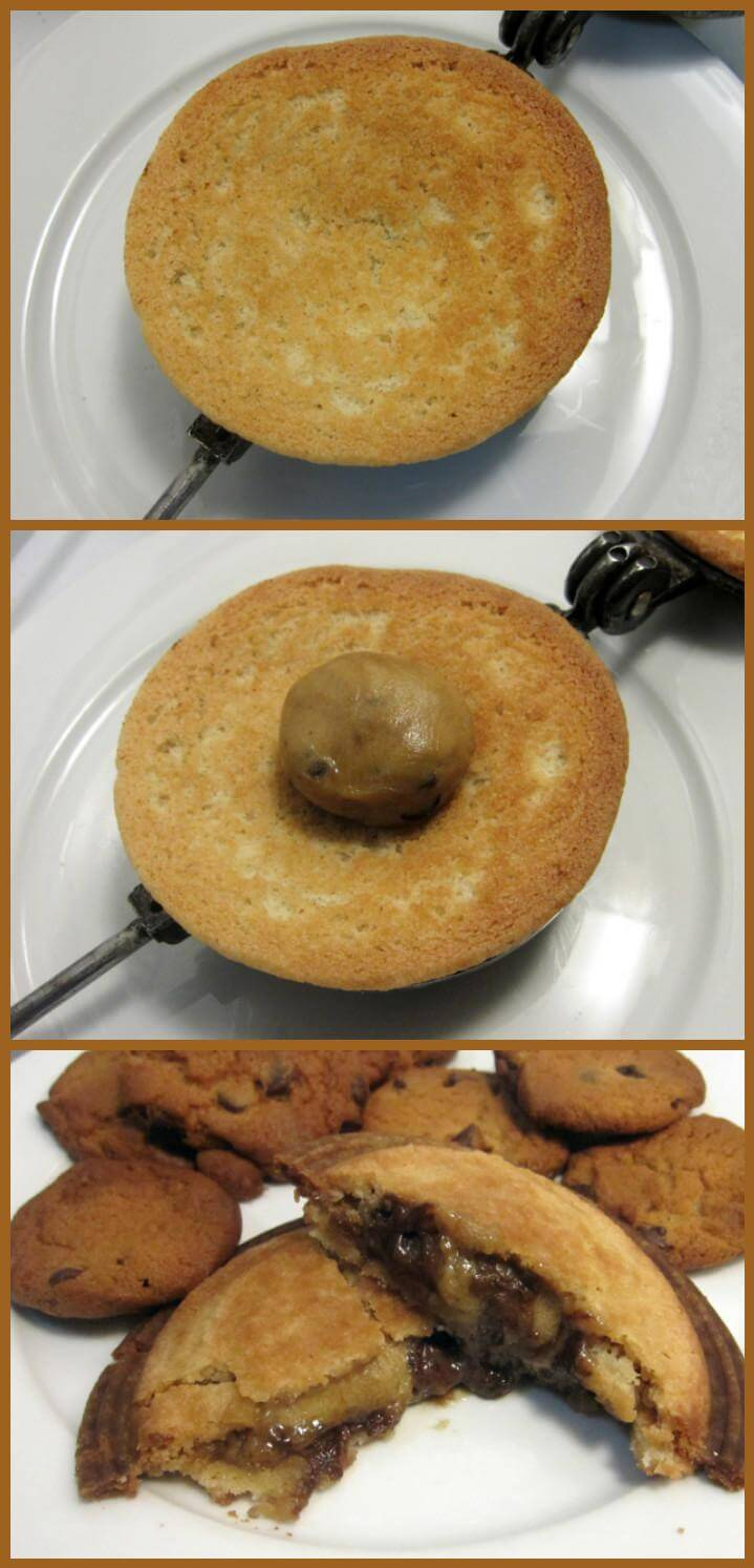 pie iron chocolate chip cookie pudgy