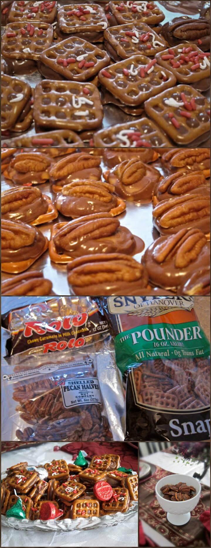 Rolo pretzel sandwiches and turtle recipe