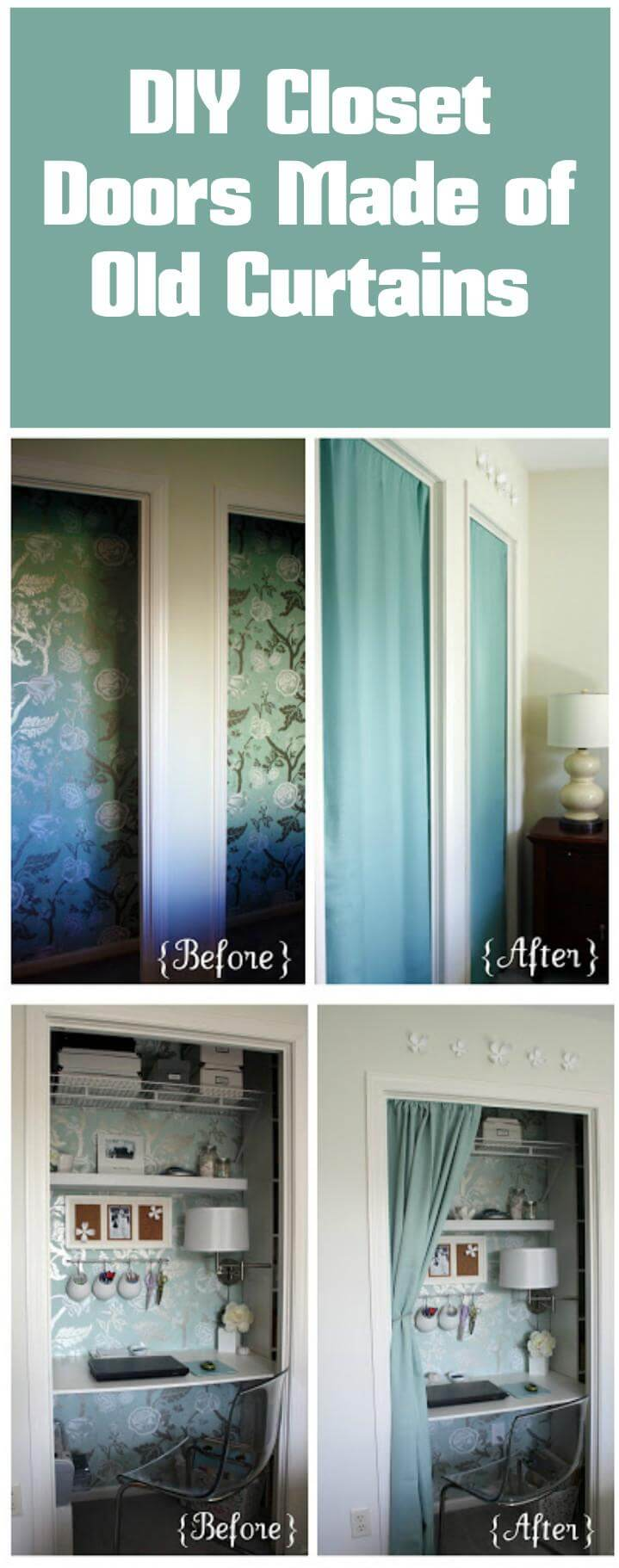 instant closet doors made out of old curtains