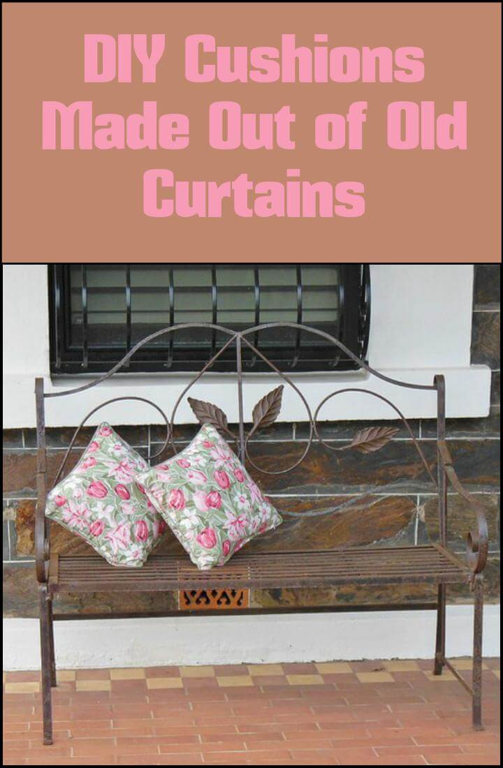 cushions made out of old curtains
