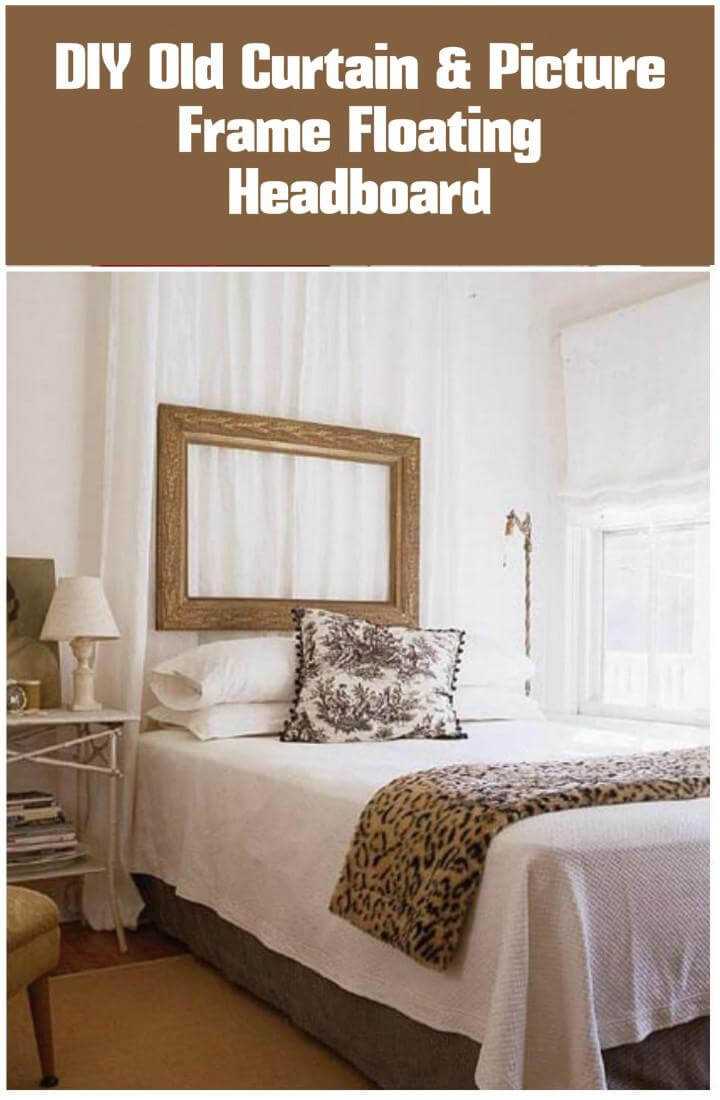 repurposed old curtain and old picture frame floating headboard