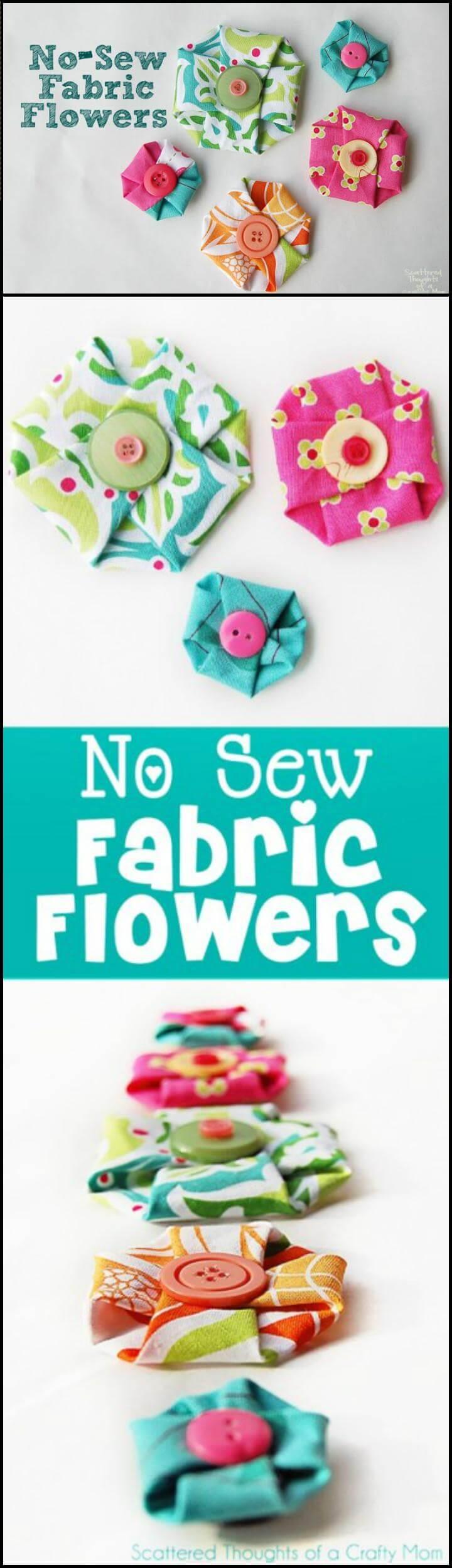 Diy No Sew Fabric Flower Via Ruffles And Stuff