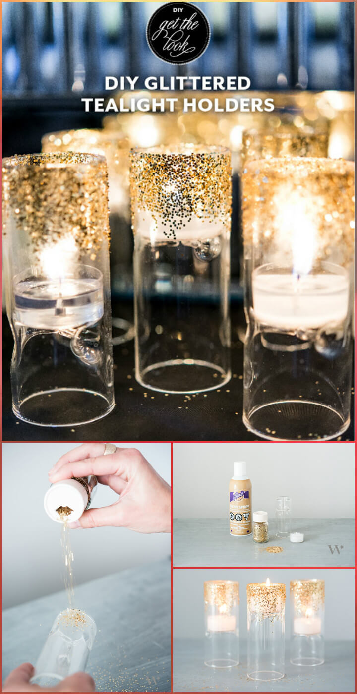 easy and beautiful glittered tealight holders