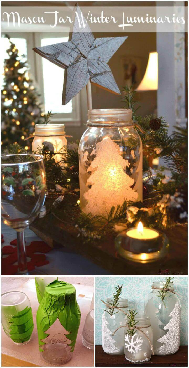 repurposed Mason jar winter luminaries