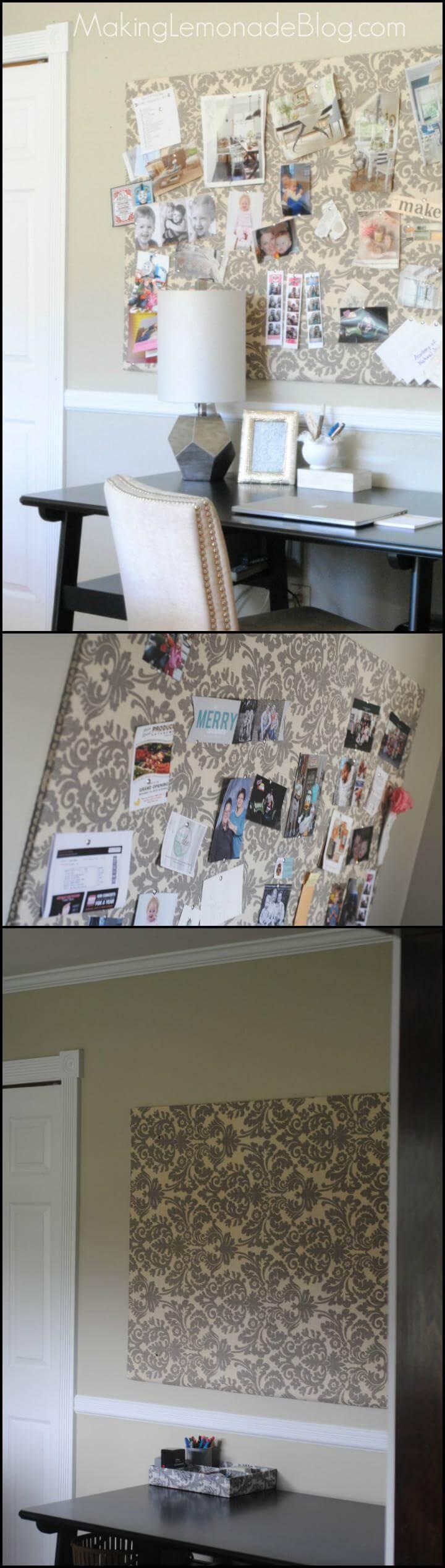 easy old curtain bulletin board