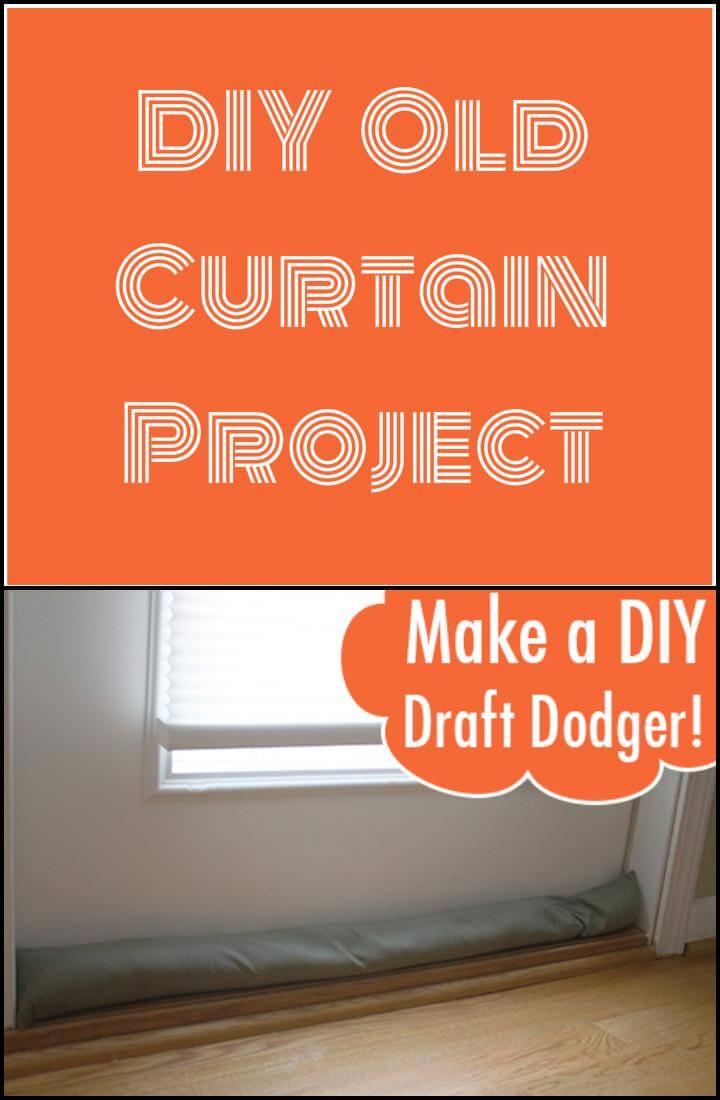 easy handmade old curtain draft dodger