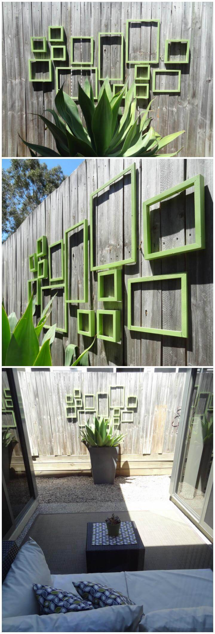 upcycled old frames garden fence wall art