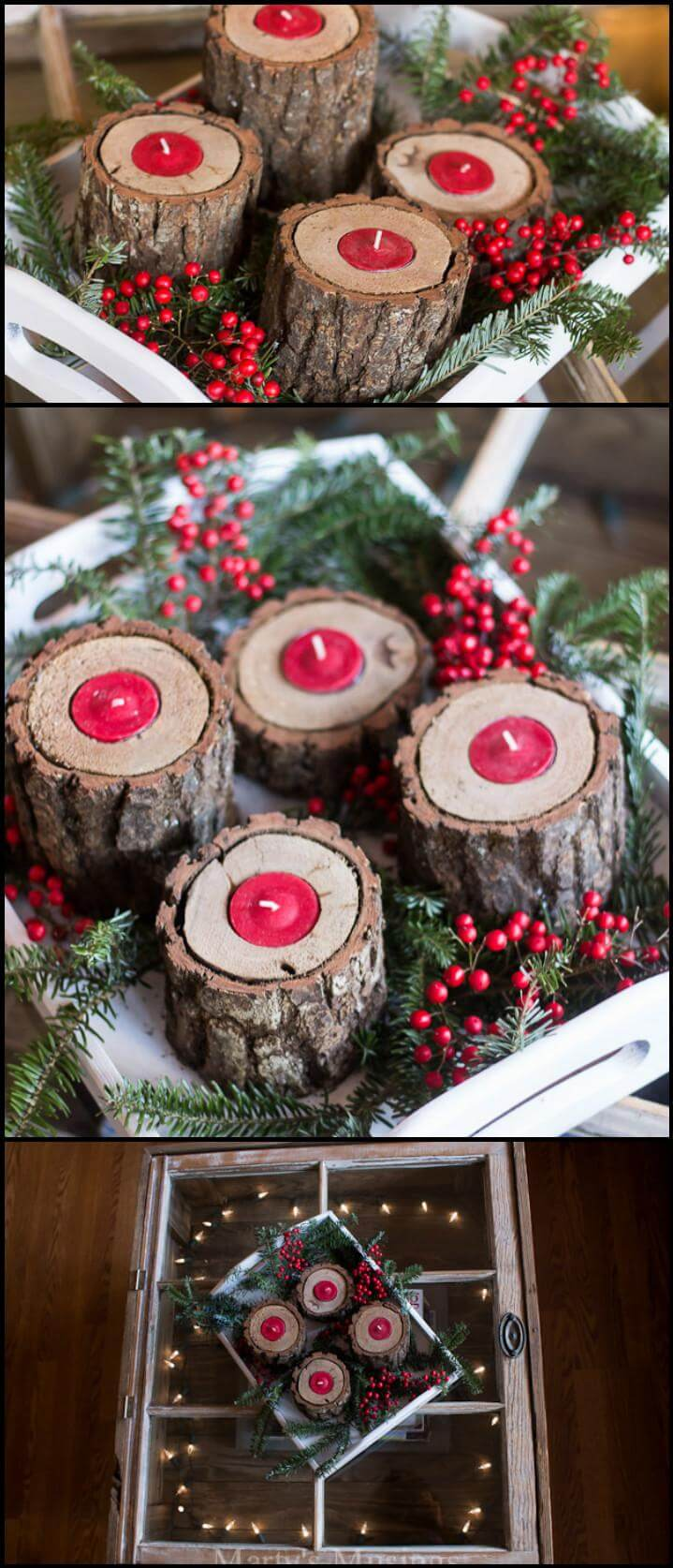 easy yet beautiful rustic wood candle holders