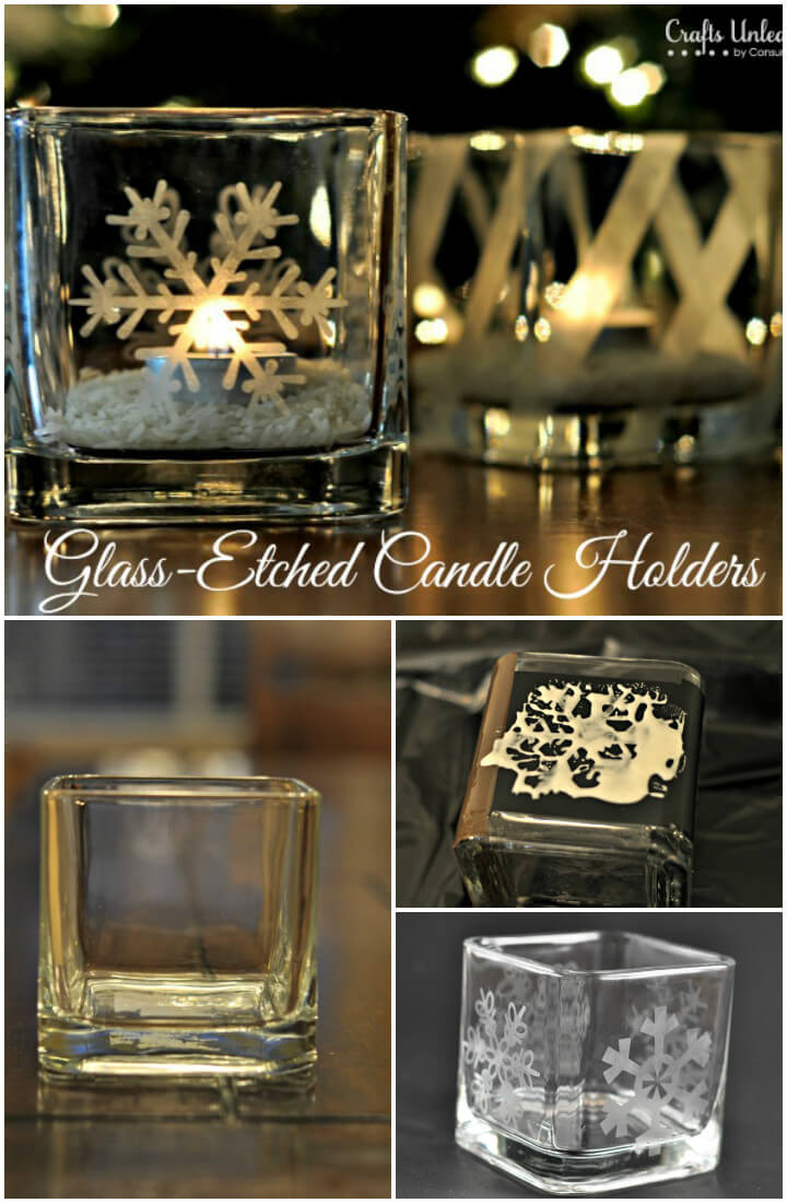 timeless etched glass candle holder