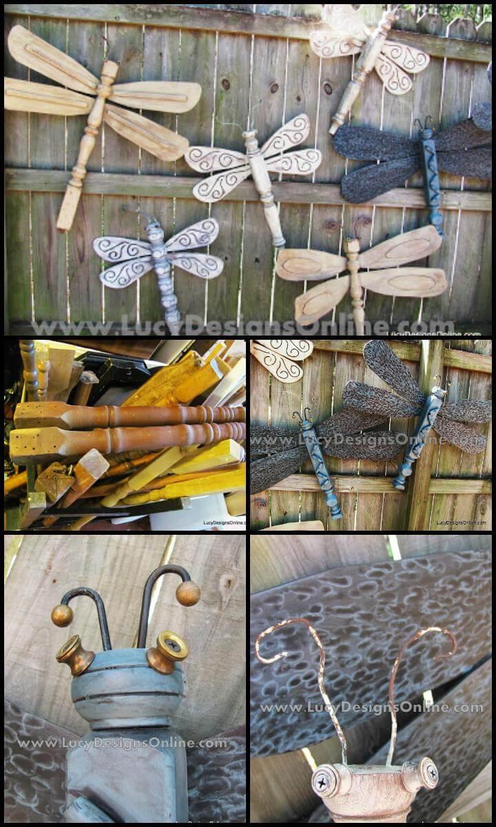 repurposed table legs dragonflies with fan blade wings