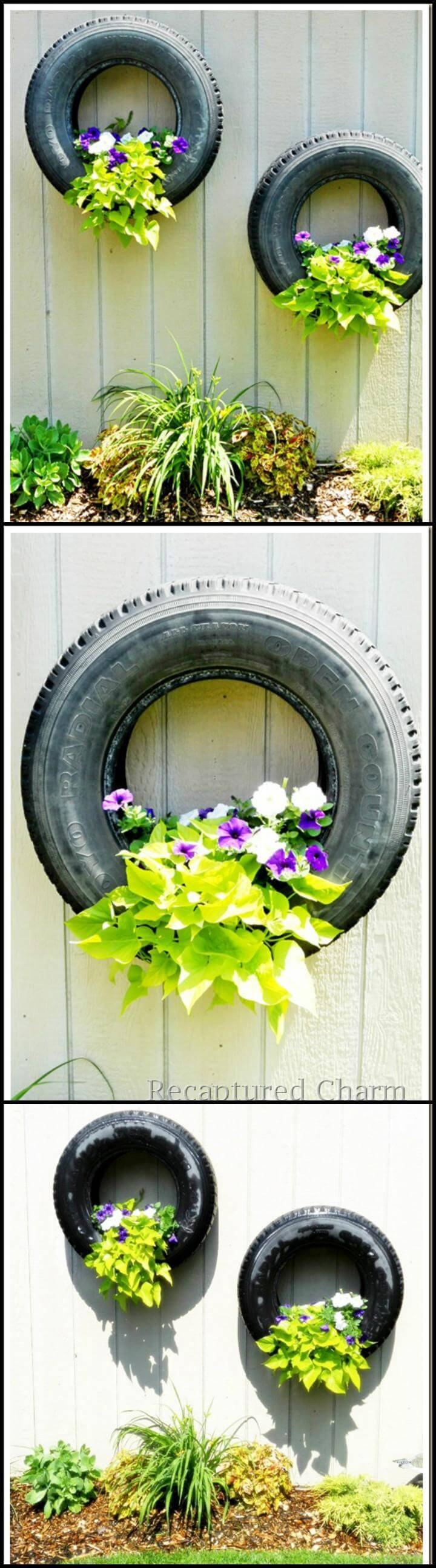 reclaimed tire hanging fence planters