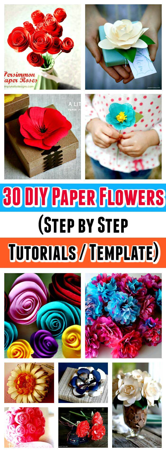 30 diy paper flowers step by step tutorials template for Diy paper roses step by step