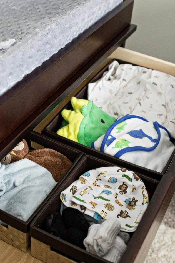 Baskets in a Drawer Nursery Clothes Organization Idea