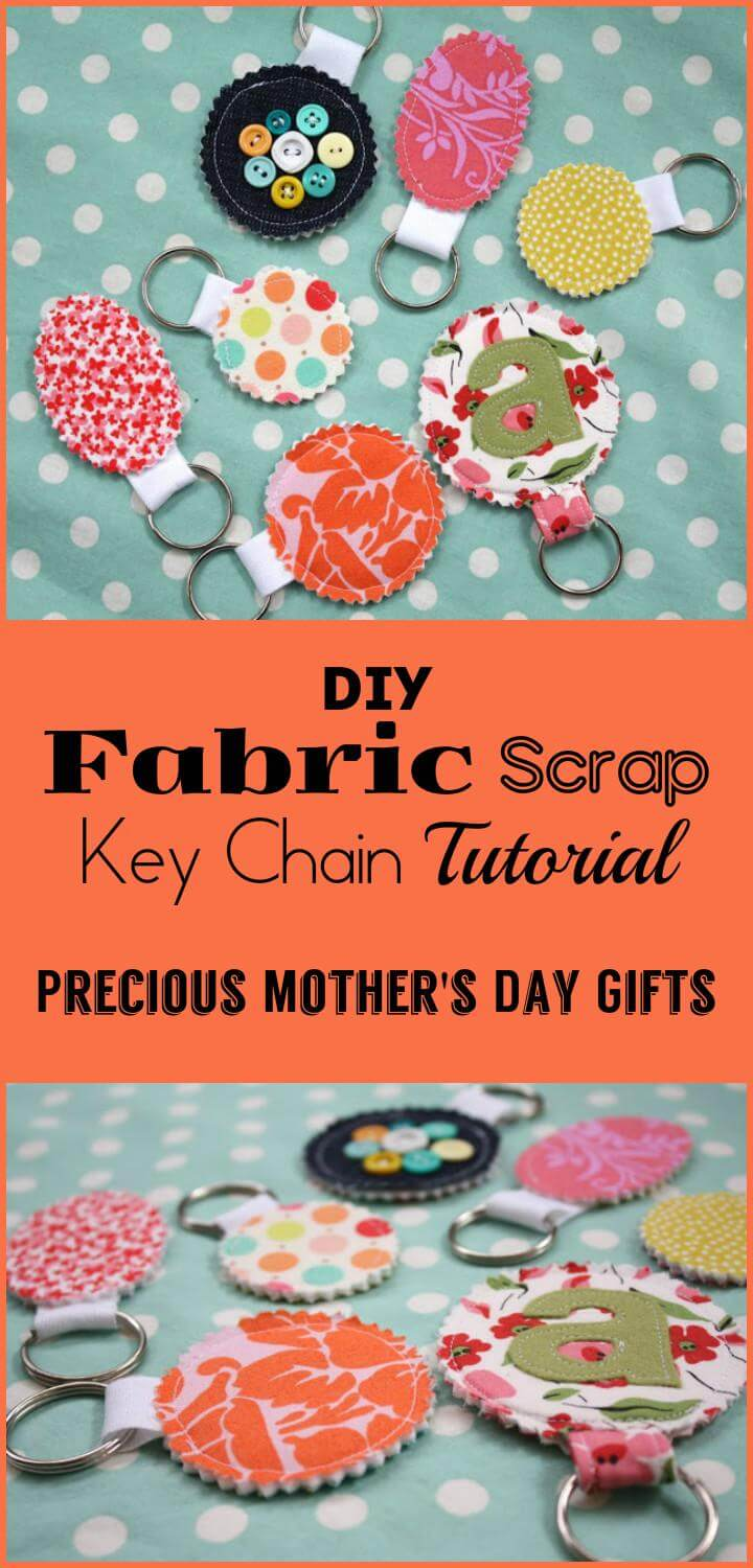 easy fabric scrap key chain DIY tutorial