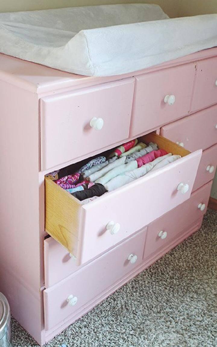 DIY Baby Cloth Dresser Organization