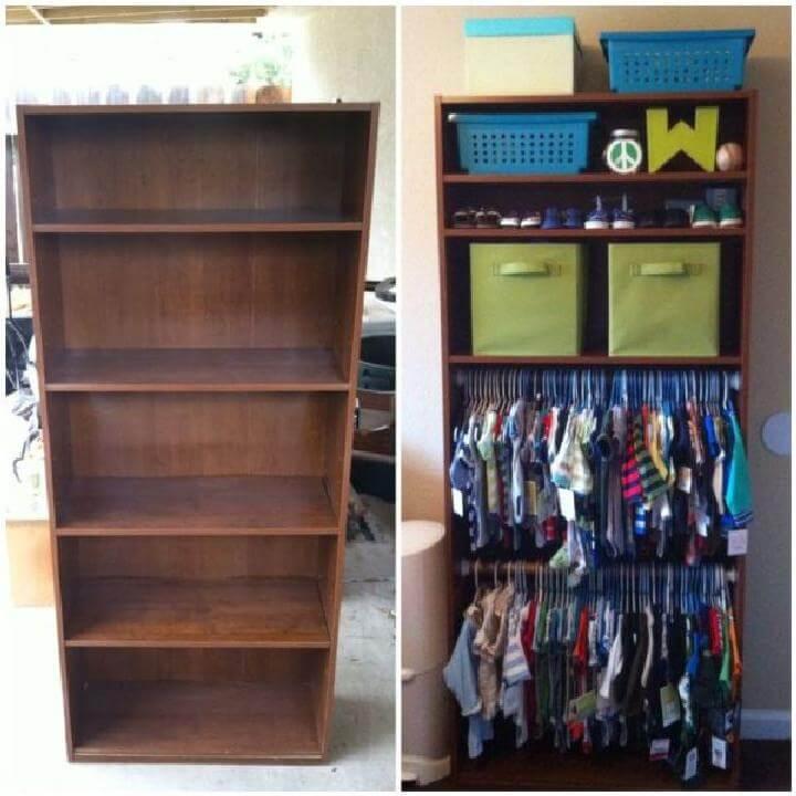 DIY Bookshelf into Baby Closet