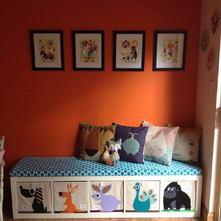 DIY Expedit Playroom Bench