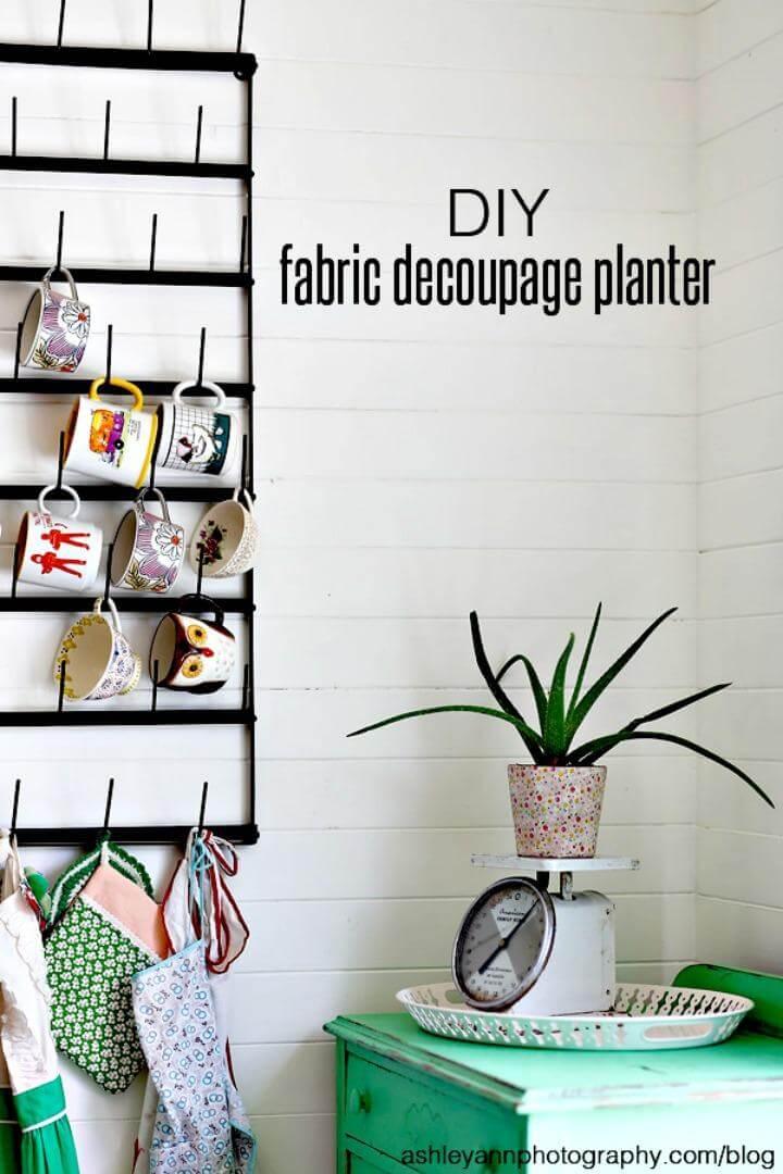 DIY Fabric Decoupage Planter