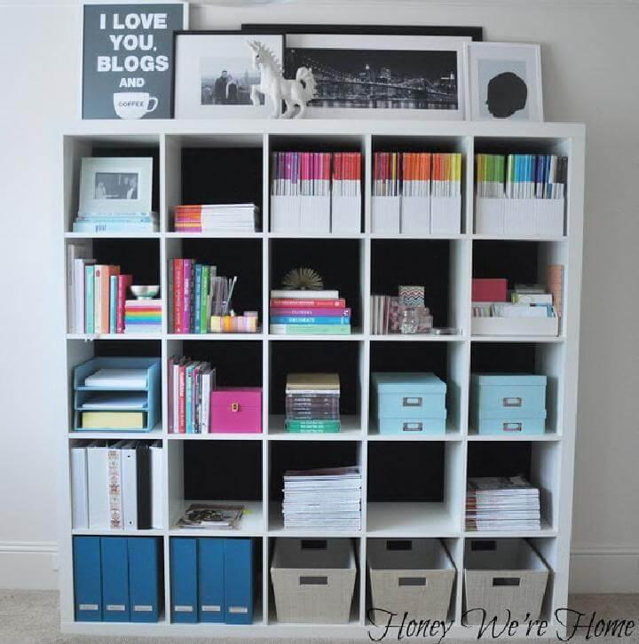 DIY Fabric Lined Kallax Bookshelf
