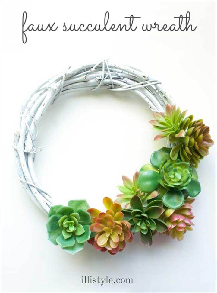 DIY Faux Succulent Wreath